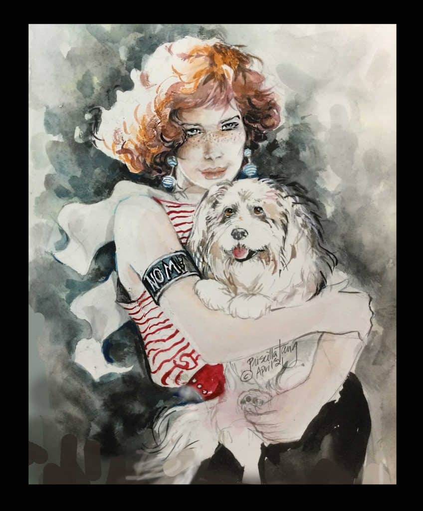 A pet Portrait showing a young lady holding her dog Rascal