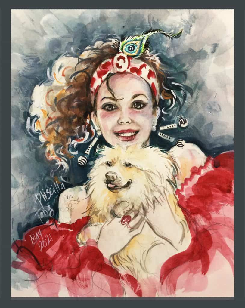 Shows pet portrait vivacious young lady in a red flouncy red dress holding dog