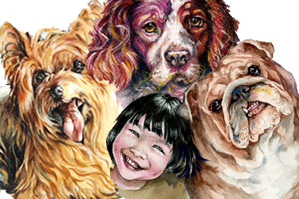 A digital collage of different dog portraits with a singular human subject: a little smiling girl child