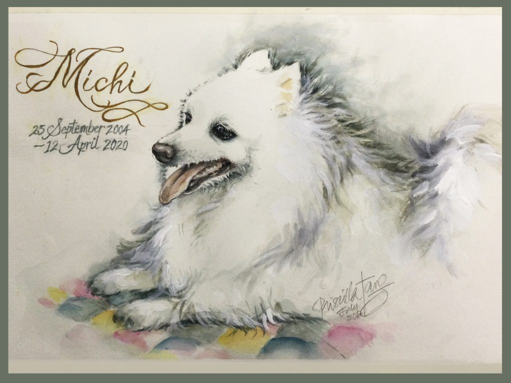 The Original Watercolor Portrait of Michi, the Spitz (dec) - A Memorial. Shows the name of Michi written in a cursive flourish calligraphy withe her dates underneath.