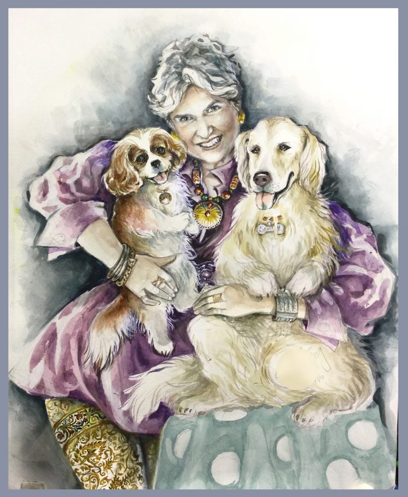 A Pet Portrait of a Client holding 2 of her dogs