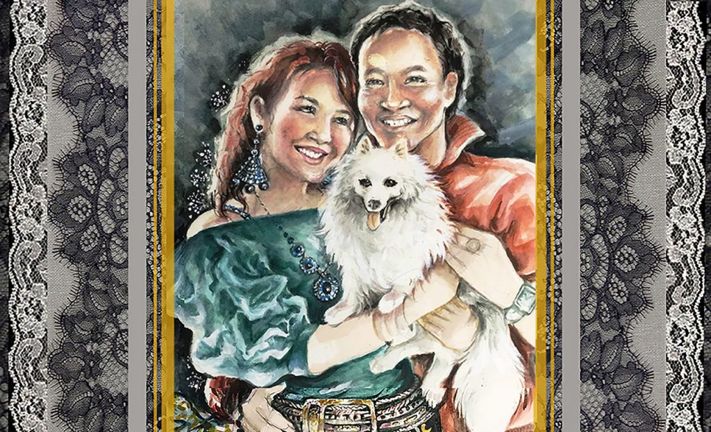 """A Digital Collage based on a """"Basics"""" pet portrait of a 3-some: Michelle, Budiman & Michi the Spitz"""