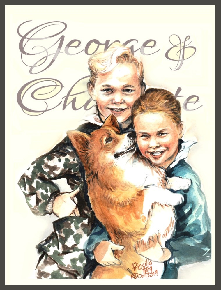 A Pet Portrait of the Prince George and Princess Charlotte of the Royal Family and the Queen's favorite corgi