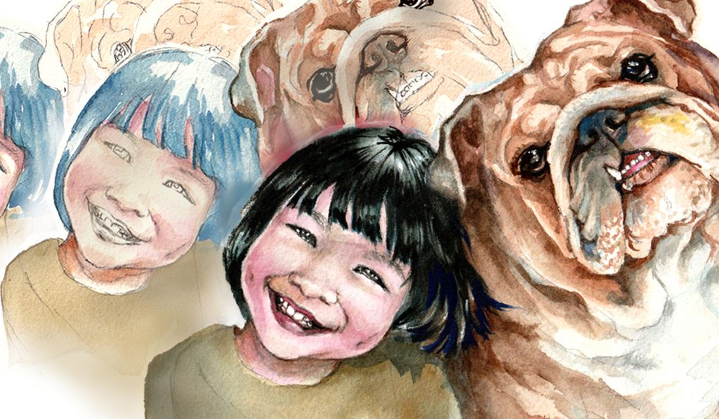 A portrait of a little girl with her best buddy-bulldog as a nostalgic reference to my childhood days with my pet dog.
