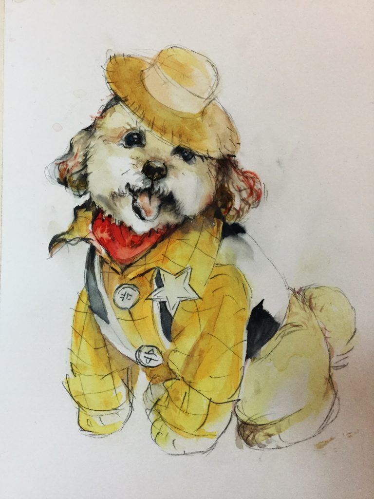 A yellow dog portrait, a reminder of my Bobby-dog who was my childhood companion