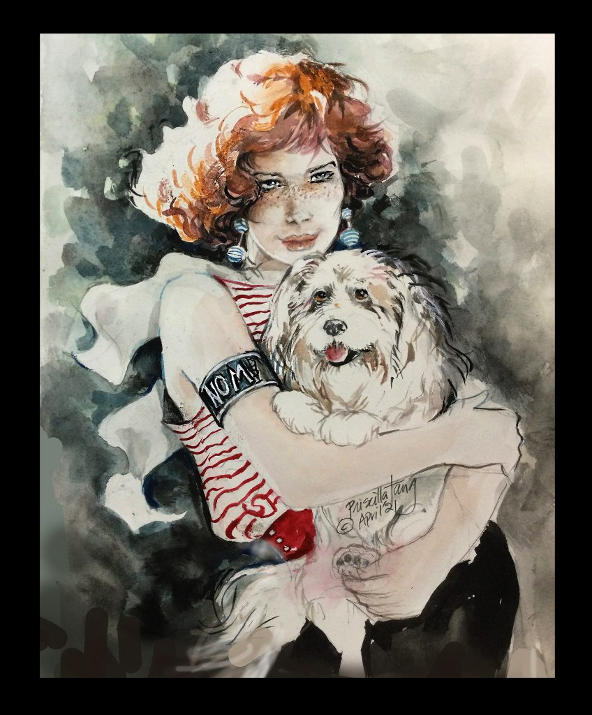 A fashion-cum-Pet Portrait of an attractive lady with her dog, Rascal